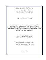 Luận văn tốt nghiệp bác sĩ y học dự phòng:Nghiên cứu thực trạng cân nặng sơ sinh và các yếu tố liên quan tại phường Hương Long thành phố Huế năm 2015