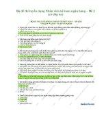 Bộ đề thi tuyển dụng nhân viên kế toán ngân hàng (có đáp án)