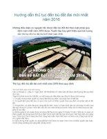 Hướng dẫn thủ tục đền bù đất đai mới nhất năm 2016