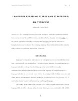 LANGUAGE LEARNING STYLES AND STRATEGIES: AN OVERVIEW