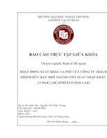 HOẠT ĐỘNG XUẤT KHẨU cà PHÊ của CÔNG TY TRÁCH NHIỆM hữu hạn một THÀNH VIÊN XUẤT NHẬP KHẨU 2 9 DAK LAK (SIMEXCO DAK LAK)