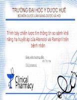 Trình bày chiến lược tìm thông tin so sánh khả năng hạ huyết áp của atenolol và ramipril trên bệnh nhân