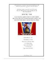 VẬN DỤNG KIẾN THỨC LIÊN môn để GIẢI QUYẾT các TÌNH HUỐNG (lịch sử 11) bảo vệ CHỦ QUYỀN BIỂN đảo của tổ QUỐC VIỆT NAM