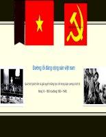 Quá trình phát triển và giải quyết những hạn chế trong luận cương chính trị tháng 10 – 1930 của đảng (1930 – 1945)
