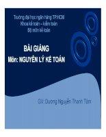 Bài giảng môn Nguyên lý kế toán  Dương Nguyễn Thanh Tâm