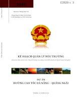 Kế hoạch quản lý môi trường Dự án đường cao tốc Đà Nẵng - Quảng Ngãi