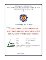 Giải pháp nâng cao quy trình giao nhận hàng hóa bằng đường biển tại công ty TNHH Quốc tế DELTA