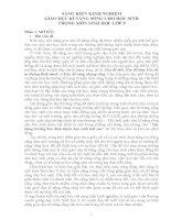 SÁNG KIẾN KINH NGHIỆM GIÁO DỤC KĨ NĂNG SỐNG CHO HỌC SINH THÔNG QUA MÔN SINH HỌC LỚP 9