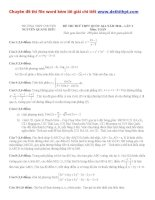 Đề thi thử THPT quốc gia môn toán trường THPT chuyên nguyễn quang diêu   lần 1   năm 2016 file word có lời giải chi tiết