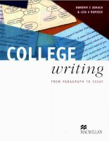 Sách luyện thi tiếng anh: College Writing: From Paragraph To Essay.