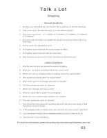 talk a lot 1 question sheet shopping