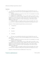 Elementary reading comprehension test 01