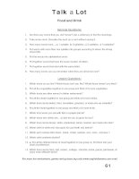 talk a lot 1 question sheet food and drink
