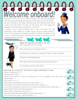 3408 welcome onboard  reading comprehension  grammar the use of the infinitive 5 tasks keys included 3 pages editable