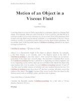 Motion of an object in a viscous fluid