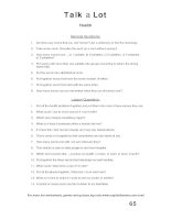 talk a lot 1 question sheet health