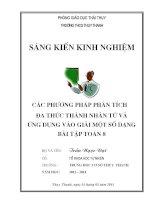 skkn các phương pháp phân tích đa thức thành nhân tử và ứng dụng vào giải nột số bài tập toán 8