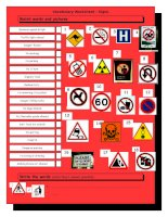 3807 vocabulary matching worksheet  signs