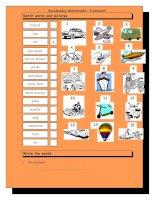 3897 vocabulary matching worksheet  transport