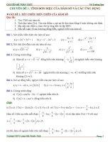 bài tập có đáp án chuyên đề tính đơn điệu của hàm số