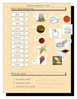 3606 vocabulary matching worksheet  food