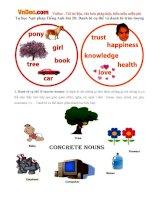 Tự học Ngữ pháp Tiếng Anh bài 20: Danh từ cụ thể và danh từ trừu tượng