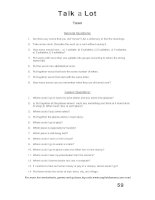 talk a lot 1 question sheet town