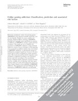 Online gaming addiction  classification, prediction and associated risk factors