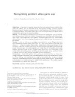 Recognizing problem video game use