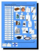 3700 vocabulary matching worksheet  in the kitchen