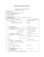 Giáo án Tiếng Anh 7 unit 1: Back to school