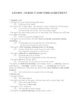 LESSON  SUBJECT AND VERB AGREEMENT