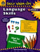Daily warm ups language skills grade 6