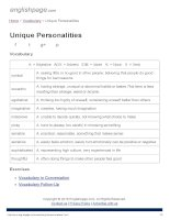 ENGLISH PAGE   unique personalities
