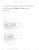 Question tags   free english grammar, vocabulary and phrase tests