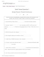 ENGLISH PAGE   verb tense exercise 1