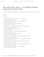 Who, what, which, where…   free english grammar, vocabulary and phrase tests