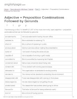 ENGLISH PAGE   adjective + preposition combinations followed by gerunds