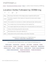 ENGLISH PAGE   location verbs followed by VERB+ing