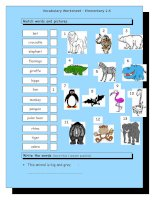 12289 vocabulary matching worksheet  elementary 26  wild animals