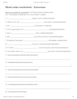 Word order worksheet   exercises