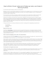How to write a cover letter and a follow up letter and create a winning portfolio
