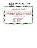 BÁO cáo KHẢO sát TÌNH HÌNH sử DỤNG hầm ủ BIOGAS tại xã AN PHÚ HUYỆN củ CHI   THÀNH PHỐ hồ CHÍ MINH và đưa RA GIẢI PHÁP NHẰM NÂNG CAO HIỆU QUẢ sử DỤNG hầm ủ BIOGAS