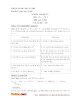 Đề kiểm tra 45 phút học kì 1 môn Hóa học lớp 9 trường THCS Văn Miếu, Thanh Sơn năm 2014 - 2015