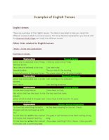 Examples of english tenses