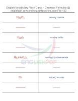 Vocabulary flash cards   chemical formulas133