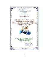 CÔNG tác xã hội cá NHÂN với TRẺ EM LAO ĐỘNG sớm ở KHU tái ĐỊNH cư PHÚ mậu, HUYỆN PHÚ VANG, TỈNH THỪA THIÊN HUẾ