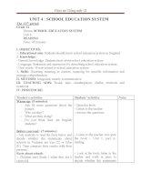 Giáo án Tiếng Anh 12 unit 4: School education system