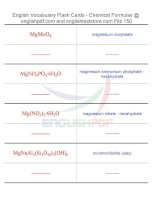 Vocabulary flash cards   chemical formulas150