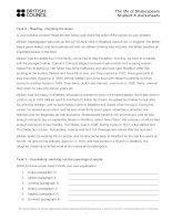 Life of shakespeare student a worksheets